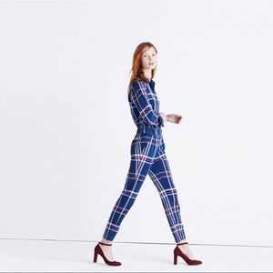 Madewell Blue Indigo Plaid Jumpsuit size XS